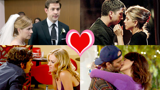John Krasinski, Jenna Fischer, The Office, David Schwimmer, Jennifer Aniston, Friends, Zachary Levi, Yvonne Strahovski, Chuck, Lauren Graham, Scott Patterson, Gilmore Girls, TV Top Couples