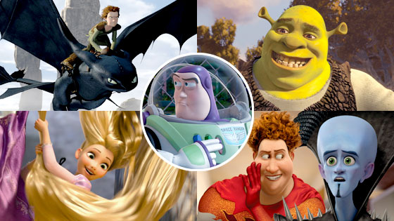 How to Train Your Dragon, Shrek Forever After, Tangled, Megamind, Toy Story 3
