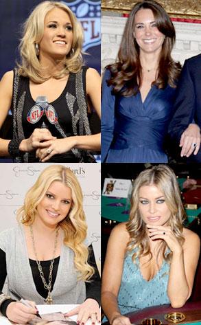 Carrie Underwood, Kate Middleton, Jessica Simpson, Carmen Electra