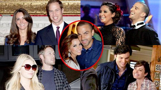 Prince William, Kate Middleton, Bristol Palin, Mark Ballas, Jessica Simpson, Eric Johnson, Tom Welling, Erica Durance, Eva Longoria Parker, TonyParker