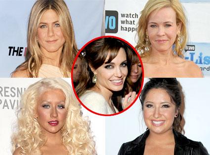 Jennifer Aniston, Chelsea Handler, Christina Aguilera, Bristol Palin, Angelina Jolie