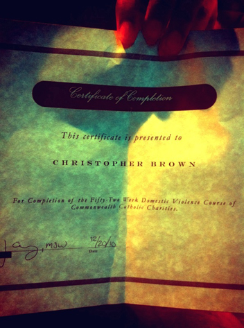 Chris Brown, Domestic Violence Certificate