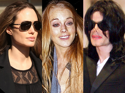 Angelina Jolie, Lindsay Lohan, Michael Jackson