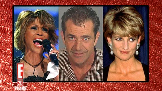 Whitney Houston, Mel Gibson, Princess Diana