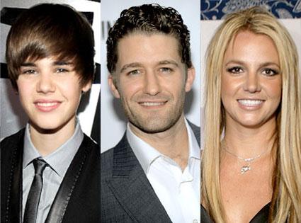 Justin Bieber, Matthew Morrison, Britney Spears
