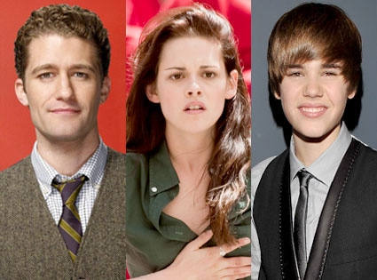 Matthew Morrison, Kristen Stewart, Justin Bieber