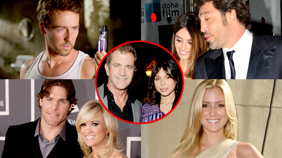 Ed Norton, Penelope Cruz, Javier Bardem, Carrie Underwood, Mike Fisher, Kristin Cavallari, Mel Gibson, Oksana Grigorieva