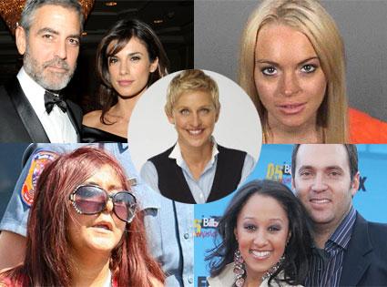 Lindsay Lohan, Snooki, Tamera Mowry, Adam Housley, George Clooney, Elisabetta Canalis, Ellen DeGeneres