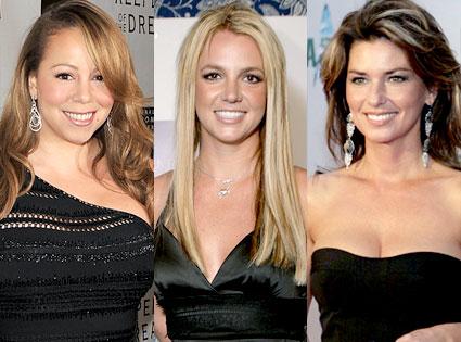 Mariah Carey, Britney Spears, Shania Twain