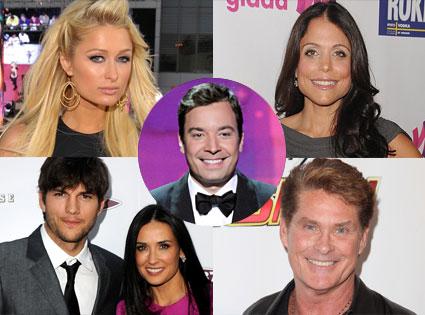 Ashton Kutcher, Demi Moore, Paris Hilton, David Hasselhoff, Bethenny Frankel, Jimmy Fallon