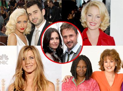 Christina Aguilera, Jordan Bratman, Katherine Heigl, Jennifer Aniston, Whoopi Goldberg, Joy Behar, Courteney Cox, David Arquette