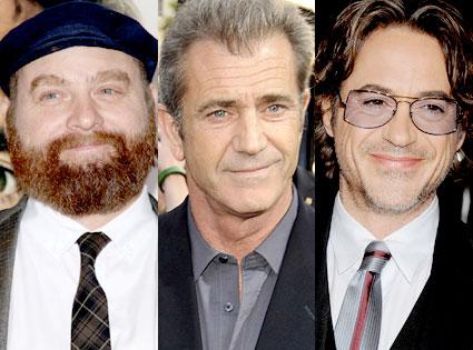 Zach Galifianakis, Mel Gibson, Robert Downey Jr.