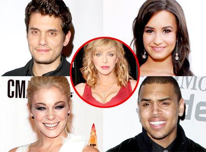 John Mayer, Demi Lovato, LeAnn Rimes, Chris Brown, Courtney Love