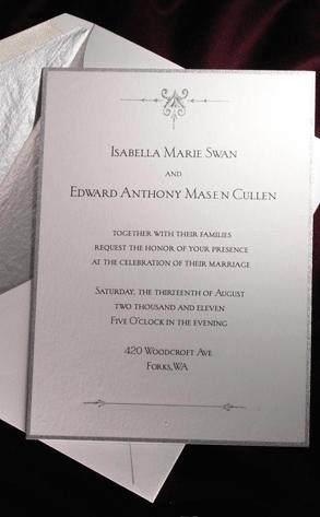 Breaking Dawn, Wedding Invitation