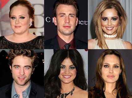 Adele, Chris Evans, Cheryl Cole, Robert Pattinson, Lucy Hale, Angelina Jolie