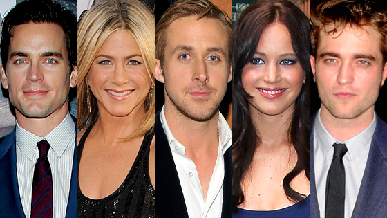 Matt Bomer, Jennifer Aniston, Ryan Gosling, Jennifer Lawrence, Robert Pattinson