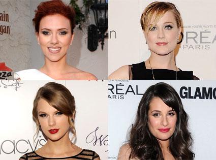 Taylor Swift, Lea Michele, Scarlett Johansson, Evan Rachel Wood