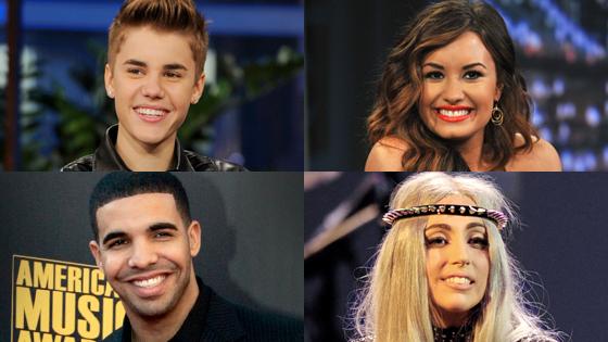 Justin Bieber, Demi Lovato, Drake, Lady Gaga