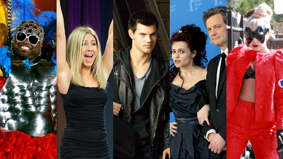Cee Lo Green, Jennifer Aniston, Taylor Lautner, Helena Bonham Carter, Colin Firth, Lady Gaga