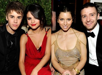 Justin Bieber, Selena Gomez, Justin Timberlake, Jessica Biel