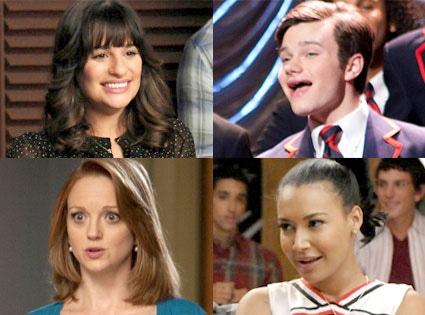 Glee, Lea Michele, Chris Colfer, Jayma Mays, Naya Rivera