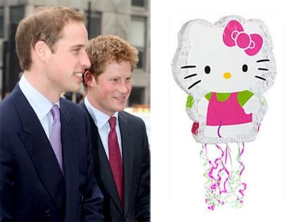 Prince William, Prince Harry, Hello Kitty Pinata