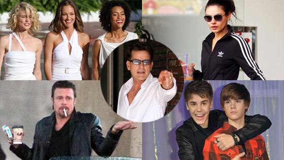 Rachael Taylor, Minka Kelly, Annie Ilonzeh, Mila Kunis, Brad Pitt, Justin Bieber