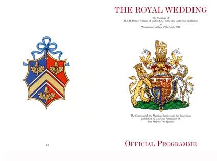 Prince William Kate Middleton Official Souvenir Wedding Programme