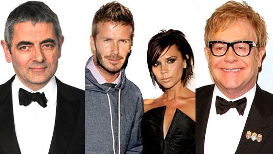 Victoria Beckham, David Beckham, Rowan Atkinson, Elton John