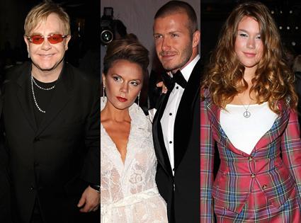 Elton John, Victoria Beckham, David Beckham, Joss Stone