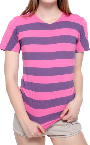Unisex Pigment Striped Jersey Short Sleeve Crew Neck T-Shirt