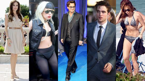 Angelina Jolie, Lady GaGa, Johnny Depp, Robert Pattinson, Miley Cyrus