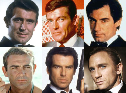 James Bond, Sean Connery, Roger Moore, George Lazenby, Timothy Dalton, Pierce Brosnan, David Craig