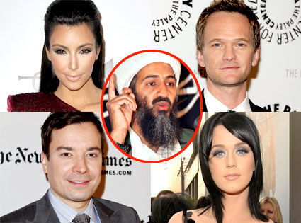 Kim Kardashian, Neil Patrick Harris, Jimmy Fallon, Katy Perry, Osama Bin Laden