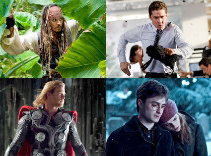 Pirates of the Caribbean 4, Transformers 3, Thor, Harry Potter and the Deathly Hollows