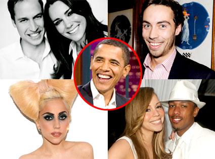 Prince William, Kate Middleton, James Middleton, Lady Gaga, Mariah Carey, Nick Cannon, President Obama