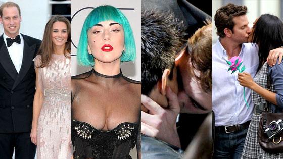 Prince William, Kate Middleton, Lady Gaga, Robert Pattinson, Taylor Lautner, Bradley Cooper, Zoe Saldana