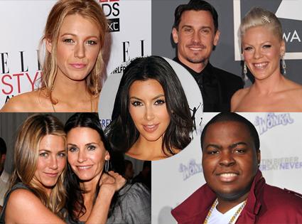 Blake Lively, Pink, Cary Hart, Jennifer Aniston, Courteney Cox, Sean Kingston, Kim Kardashian