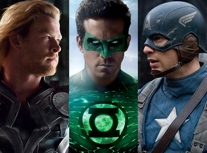 Chris Hemsworth, Thor, Ryan Reynolds, Green Lantern, Chris Evans, Captain America