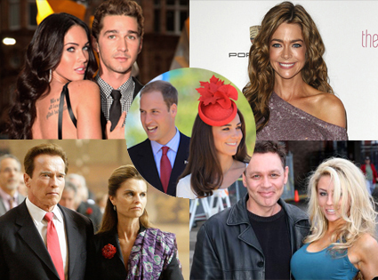 Megan Fox, Shia LaBeouf, Denise RIchards, Maria Shriver, Arnold , Doug Hutchison, Courtney Stodden, Prince William, Catherine