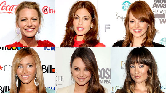 Blake Lively, Eve Mendes, Emma Stone, Beyonce Knowles, Mila Kunis, Olivia Wilde