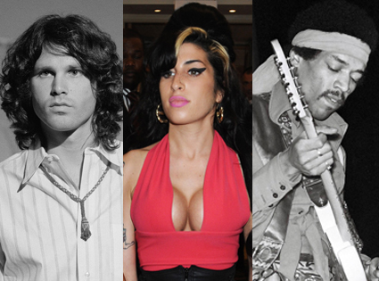 Jim Morrison, Jimi Hendrix, Amy Winehouse