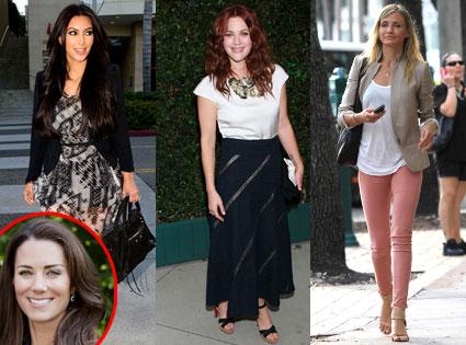 Cameron Diaz, Drew Barrymore, Kim Kardashian, Kate Middleton, Catherine Duchess of Cambridge