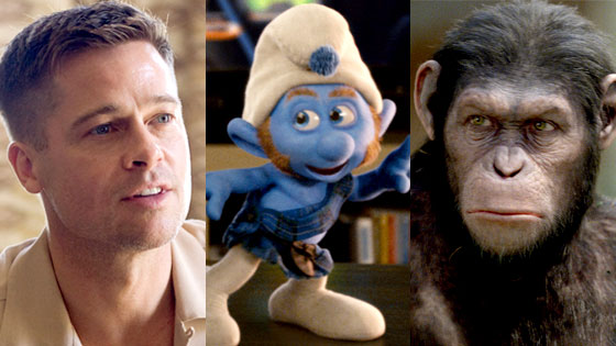 Brad Pitt, Tree of Life, The Smurfs, Rise of the Planet of the Apes