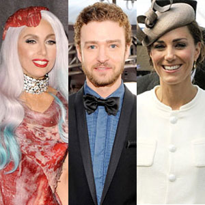 Lady Gaga, Justin Timberlake, Kate Middleton
