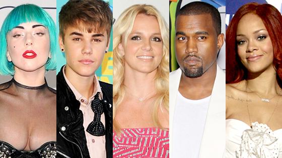 Lady Gaga, Justin Bieber, Bitney Spears, Kanye West, Rihanna