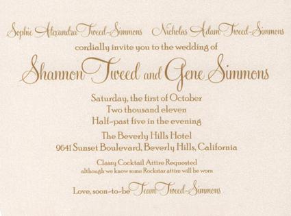 Gene Simmons, Shannon Tweed, Wedding Invitations