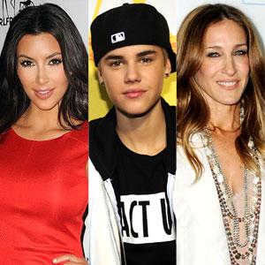 Sarah Jessica Parker, Justin Bieber, Kim Kardashian