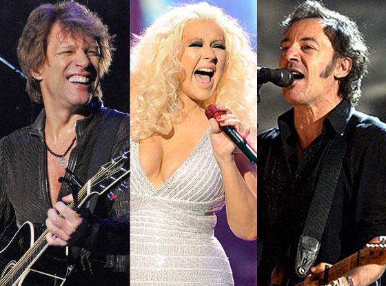 Bruce Springsteen, Christina Aguilera, Jon Bon Jovi