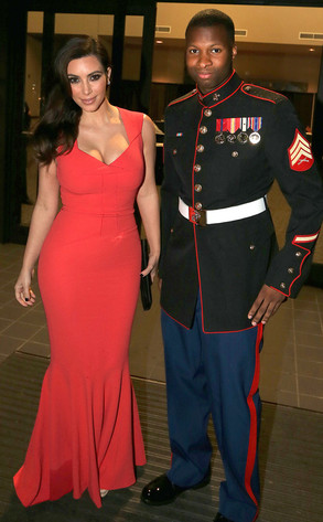 Kim Kardashian At Marine Corps Ball Stunning Lady In Red E News